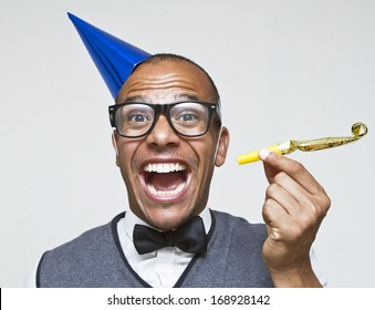Male geek ready to celebrate for New Years, Christmas or any celebration