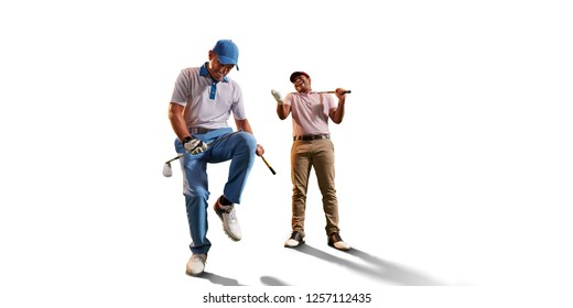 Male golf players on white background. Isolated happy player emotionally rejoices victory. Angry opponent sad about losing and broke his golf club on knee