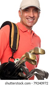Male golfer carrying his bag