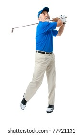 Male golfer isolated on a white background