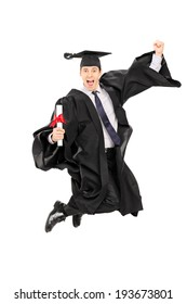 Male graduate student jumping out of joy isolated on white background