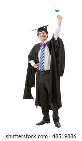 male graduation portrait smiling and showing his diploma