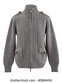 Male gray knitted woolen sweater, warm winter jacket cardigan sweater