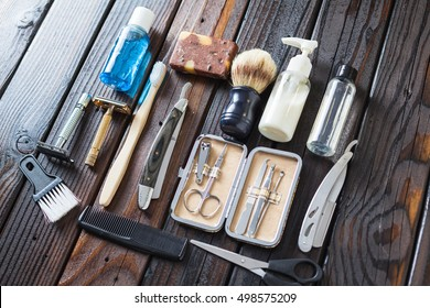 Male Grooming Accessories On A Luxury Wooden Background. Gentleman Barber Items.