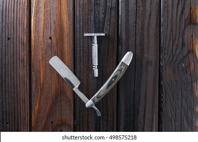 Male Grooming On A Luxury Wooden Background. Mens Barber Straight Razor. Vertical Top View With Copy Space.