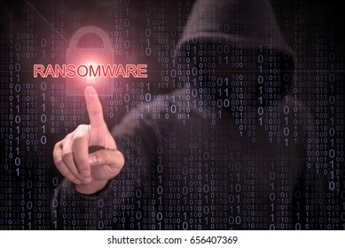 Male hacker pointing Ransomware and red padlock symbol in purple digital binary code background. cyber attack and internet security concepts
