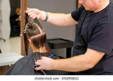 Male hairdresser holds and splits long hair of a young brunette woman in a hair salon