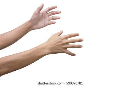 male hand and arm reaching for something