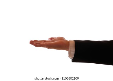 A male hand in black suit holds a pleading hand