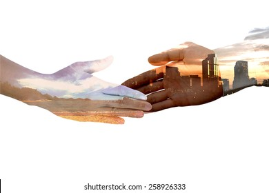 Male hand blend with cityscape silhouette handshake with female hand blend with sea beach concept of land development while preserving environment