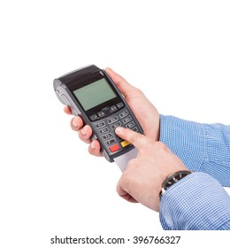 Male hand with blue sleeves dials pin code on pin pad of card machine (pos terminal)  isolated on white background