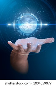 A male hand conjuring up a floating blue ripple coin cryptocurrency hologram on a dark studio background overlaid with a technical data analysis interface