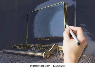 Male hand drawing abstract typing machine. 3D Rendering