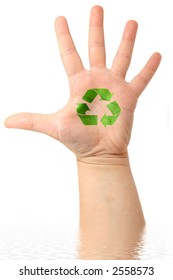 male hand with drawing  Recycle Symbol on it ( ecology concept)