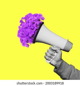 Male hand with flowers in megaphone. Contemporary art collage, modern artwork. Concept of idea, inspiration, creativity and beauty. Bright yellow, purple colors. Copyspace for your ad or text. Surreal