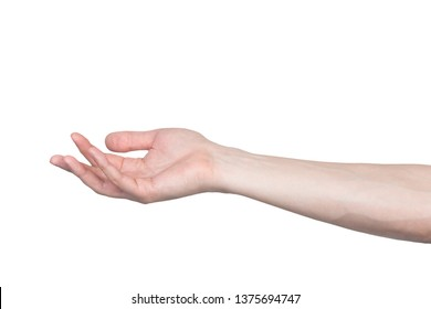 Male hand gesture isolated on white background