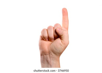Male hand gesture isolated in white background