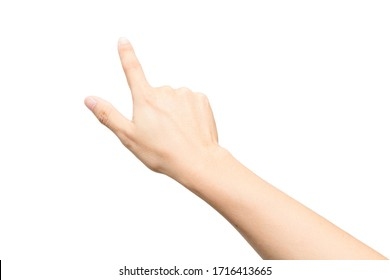 Male hand gesture with pointing sign or touch screen isolated on white background