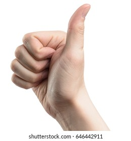 male hand gesture thumbs up, isolated with clipping path on white background
