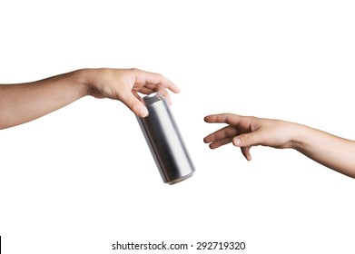 Male hand giving a beer can to another person. Isolated on white.