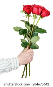 male hand giving bouquet of three red roses isolated on white background
