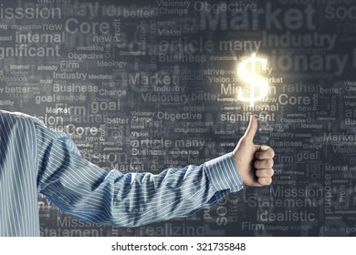 Male hand giving thumb up sign for dollar
