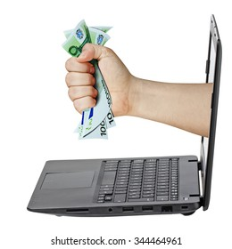 Male hand grabbing 100 Euro bills coming out from laptop isolated