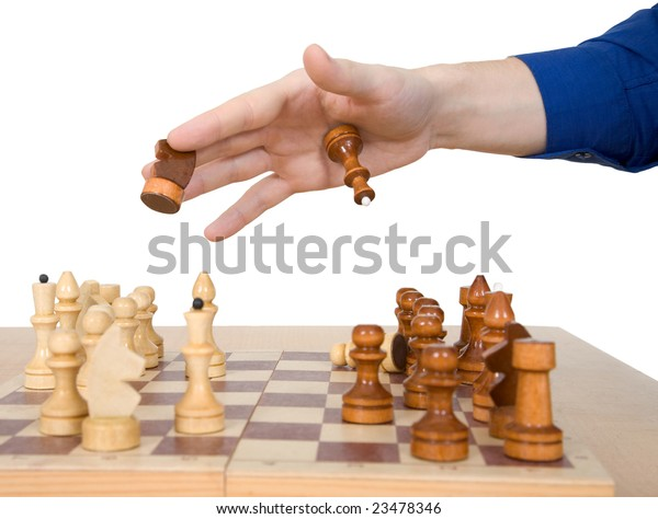 Male hand hold chess-man on the white background