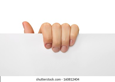 male hand hold with fingers blank white paper sheet  isolated