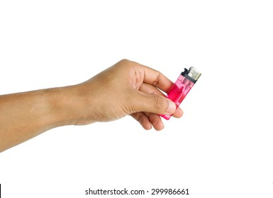 Male hand hold lighter isolated on white background