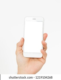male hand hold  mobilephone isolated on white background. Top view,mock up,copy space