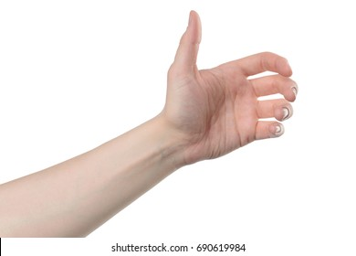 male hand hold for something, isolated with clipping path on white background