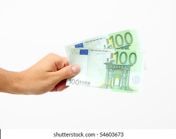 male hand holding 100 Euro banknotes