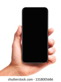 male hand holding bezel-less smartphone with blank black screen, isolated on white background . Screen is cut out with path