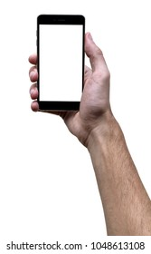 Male hand holding black cellphone with white screen at isolated white background.