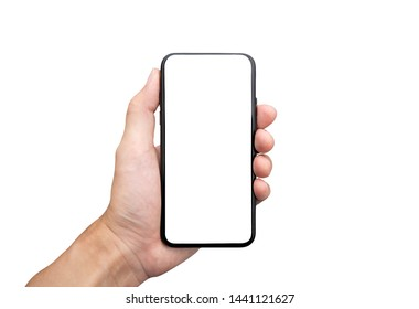 Male hand holding black cellphone, isolation white background