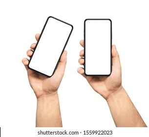 Male hand holding the black smartphone  blank screen with modern frameless design, two positions vertical and rotated - isolated on white background - Shutterstock ID 1559922023