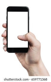 Male hand holding black smartphone with isolated white screen