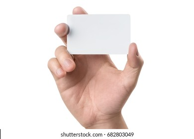 Male hand holding a blank card or a ticket/flyer, isolated on white background