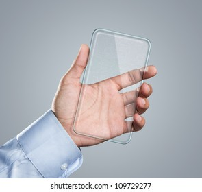Male hand holding blank futuristic transparent mobile, smart phone with copy space