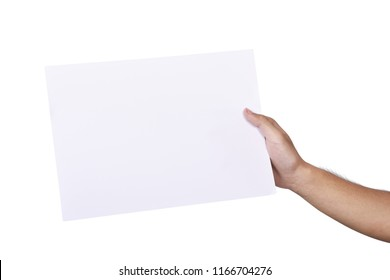Male hand holding blank paper isolated over white background