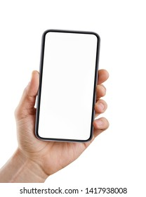 Male hand holding blank smart phone isolated on white background with clipping path for the screen