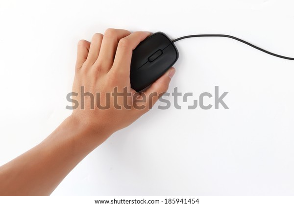 Male hand holding a computer mouse
