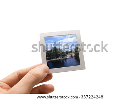 Male Hand Holding Framed Piece Slide Stock Photo (Edit Now ...