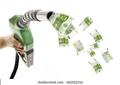 Male hand holding green fuel nozzle with euro bills flying around