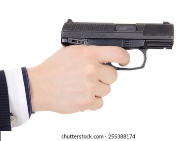 male hand holding gun isolated on white background