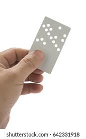 Male hand holding hotel key card isolated on white background.