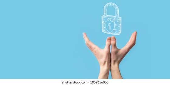 Male hand holding a lock padlock icon.Cyber security network. Internet technology networking.Protecting data personal information on tablet. Data protection privacy concept. GDPR. EU.Banner.