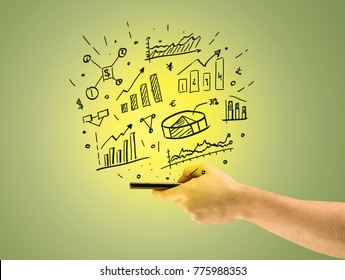 A male hand holding a mobile phone from profile view with graphs, business pie sharts and statistics above the device illustration concept