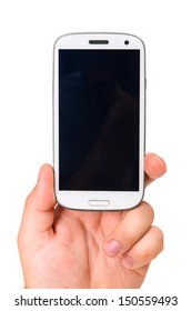 male hand is holding a modern touch screen phone. Screen is cut with clipping path